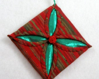 Cathedral Window Quilted Christmas Ornament  143