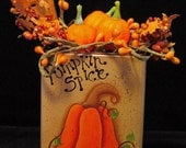 Pumpkin Spice Tin with Mini Pumpkins and Berries Hand Painted
