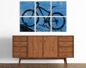 Mountain Bike Wall Art - Large Rustic Bike Art on Wood Panels - Custom Made