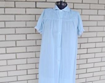 60s blue nylon housecoat, vintage Philmaid extra small to small, 1960s peignoir robe