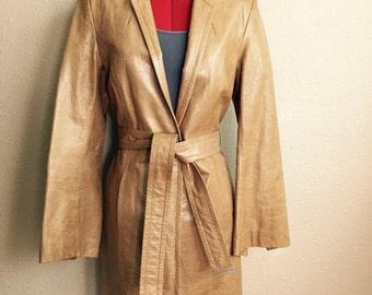 Vintage 90s Camel Leather Jacket - Buttercream Tan Express Coat Size 7/8