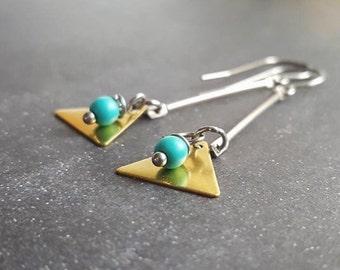 Lena Brass Turquoise geometric Stainless Steel Earrings