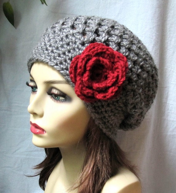 Charcoal Grey Red Womens Hat, Slouchy Beret, Ohio Buckeye, Red Rose Flower, Chunky, Teens, Winter, Birthday Gifts, Gifts for Her JE407SBTF2