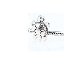 Silver Turtle Charm , Fits Pandora and European Bracelets , 22MM Silver Charm