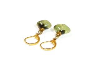 Prehnite  Earrings , Prehnite Gemstones   , Gold Lever Ear Wires