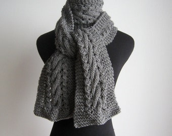 Grey Knit Scarf, Cable and Lace Vegan Scarf, Knit Mens Scarf, The Stef Scarf, Womens Accessories, Winter Scarf, Womens Scarf, Grey Scarf