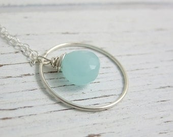 Necklace with a Sterling Silver Loop and Wire Wrapped Chalcedony Teardrop CDN-629