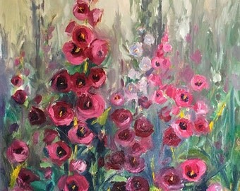 Fine Art Print of Hollyhocks oil painting