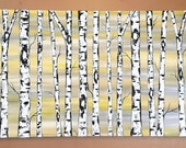 Birch Trees on Butter Cream and Gray with Real Texture Commission by Kristen Dougherty