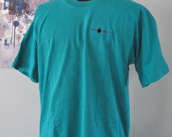 Vintage Ski TShirt Embroidered Black Diamond Utah Colorado Teal Aqua Green Blue Tee XL