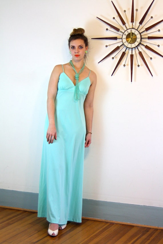 1970s Disco Maxi Dress Sexy Vintage Aqua Gown Light Blue Long Slinky Sexy High Empire Waist Spaghetti Strap 70s Retro Mad Men Loungewear