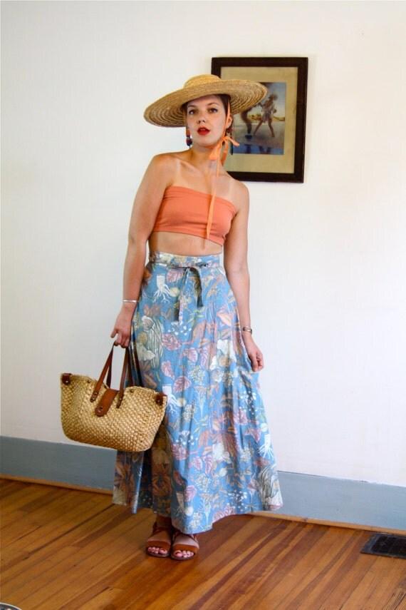 Long Wrap Skirt, Vintage 70s skirt, High Waisted skirt, Cotton wrap skirt, Powder blue, Floral print skirt, 1970s Maxi Skirt, Hippie skirt