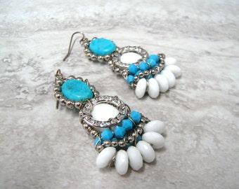 Tribal Earrings - Turquoise & White Native American Aztec Inspired Earrings