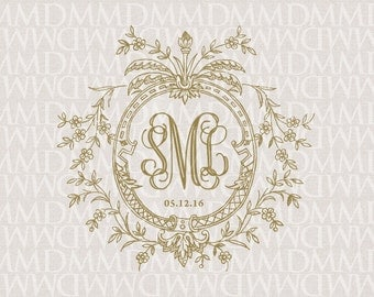 Floral Vines Wreath Wedding Monogram - Wedding Logo - Wedding Crest