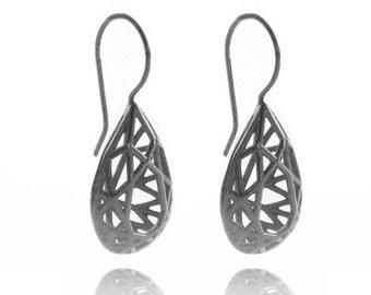 Pear shaped Dangle Earrings, Geometric Black Earrings, Silver Oxide Earrings, Contemporaray Silver Earrings, Drop Shape Hollow Earrings