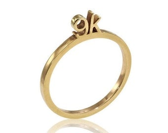 9K Solid Gold Ring, Unique Engagement Ring, Stackable Gold Rings, Unique Band, Geometric Gold Ring, 9K Stacker Ring, Fast Free Shipping,