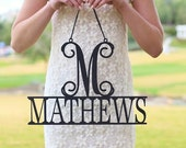 Personalized Wall Sign with Last Name and Monogram (Item NVMHDAY0007)