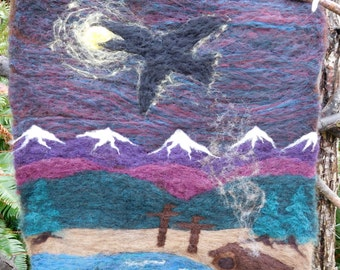 Raven Steals the Light - felted wool wall hanging