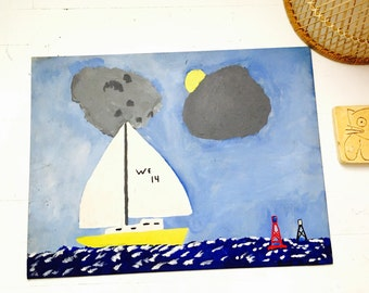 Vintage 1960s Lake Sailboat Seascape Painting on Board Signed SALE