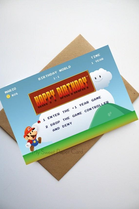 Mario Birthday card Happy Birthday Geek card Video games card – Happy Birthday Card Video