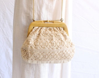 vintage linen crochet bag 70s made in italy victorian