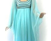 Vintage 60s Mike Benet' Formal Gown Dress Turquoise Chiffon w Angle Wings AB Rhinestones Glass Beading Evening Prom Long Dress Bust 36