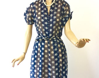 Vintage 50s Polka Dot  Dress Sheer Navy & White Nylon w Rhinestone Buttons Dinner Dress Bust 40