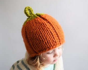 Pumpkin Hat // Knit Pumpkin Hat // Newborn Pumpkin Hat // Baby Pumpkin Hat // Photography Prop // Halloween // Thanksgiving