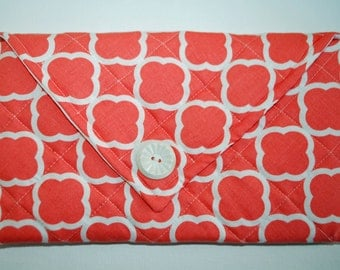 Tangerine Quilted Envelop Clutch - Purse Cosmetic Bag