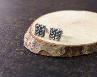 Oriental asian chinese character double happiness 双喜 metal clay fine silver ear studs, wedding gifts, bridal, for him her