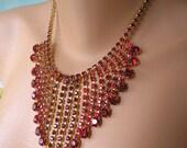 GREAT GATSBY Jewelry, Red Rhinestone, Ruby Statement Necklace, Rhinestone Bib, Diamante, Waterfall. Vintage Bridal, Bridal Choker, Deco