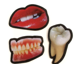 Funny Felt Mouth Parts Patches, photorealistic mouth parts, lips, molar, false teeth, iron on, sew on, premium wool felt