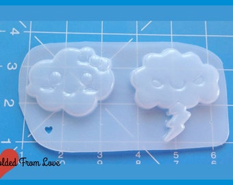 SALE Kawaii Happy and Stormy Clouds  Plastic Handmade Resin Mold-