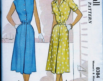 UNCUT * 1950's  McCall's Pattern 8384  - Misses' Day to Evening Dress w/ Sleeve Options  // Size 18, Bust 36