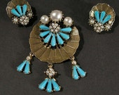 RESERVED Vintage Blue Turquoise Color Glass Brooch Pin w/ Matching Clip Earrings, Mid Century Demi-parure set,  Turquoise Color