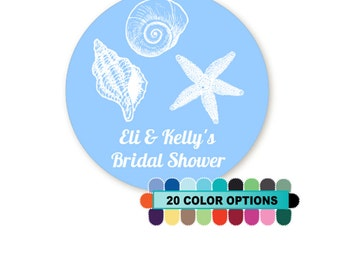 Sea Shells - Personalized Round Bridal Shower / Wedding Sticker Labels - Available in 8 Different Sizes - 20 Background Colors