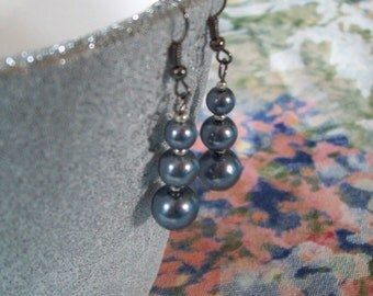 Long Gray Pearl Drop Earrings
