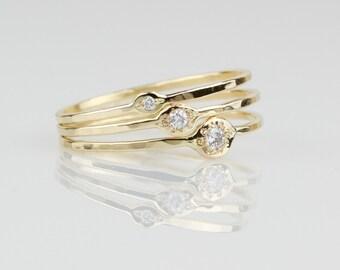 Evil Eye Diamond Rings - Solid 14k Gold Natural White Diamond Set of Three Evil Eye Rings - Rose or White or Yellow Gold - Tiny Delicate