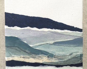 blue watercolor landscape collage on 5in x 5in canvas