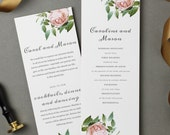 Printable Wedding Program Template | INSTANT DOWNLOAD | Vintage Botanical | Flat Tea Length | Editable Colors | Mac or PC | Word & Pages