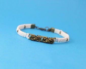 Bronze Bracelet, Chainmaille Bracelet, Byzantine Bracelet, Cord and Chainmaille Bracelet, Cord Bracelet