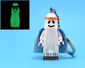 Vitruvius Keychain made from Genuine LEGO® Minifigure from The LEGO Movie(tm), Glow in the Dark Ghost