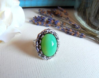 Vintage Opaque Green Glass - Silver Adjustable Ring - Silver Jewelry by HoneyNest