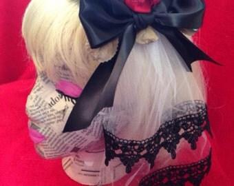 Red rose hair piece with veil elegant gothic lolita EGL