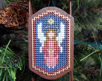 Angel Christmas Tree Ornament - Foxwood Crossings - Cross Stitched Holiday Sled Ornament - Free U.S. Shipping