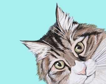 Custom Cat Portrait - Hand Painted 8x8 inch Custom Pet Portrait - Original painting done in Gouache on Paper -  Gift for Cat Lover