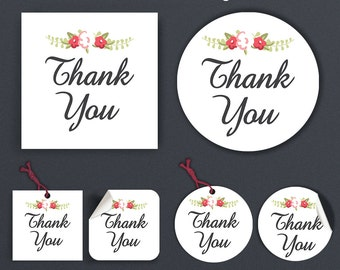 Thank You Stickers - Labels - Printable Thank You Stickers - Printable Tags - 2 Inches Immediate Download - The Veronica Danials Collection