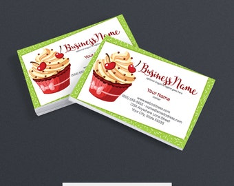 SALE 30% OFF Business Card Designs - Bakery Business Card Design -  Printable Business Card Design - Premade - Cupcake Delight 2
