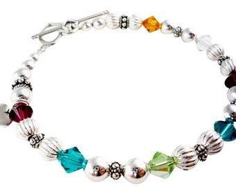 Mother's Bracelet , Choose your size and colors Mom bracelet with children's birthstones and charm sterling silver and crystal swarovski