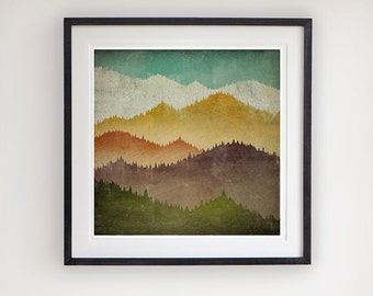 MOUNTAIN VIEW Smoky Mountains Green Mountains Framed Giclee Print 20x20 inches SIGNED